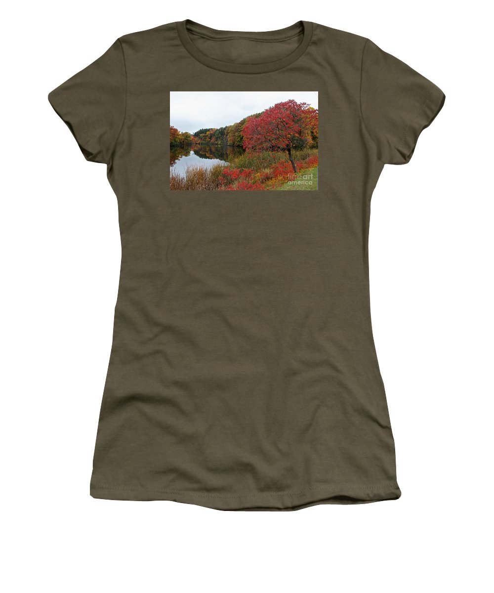 Fall Women's T-Shirt featuring the photograph Fall Reflection by William Norton