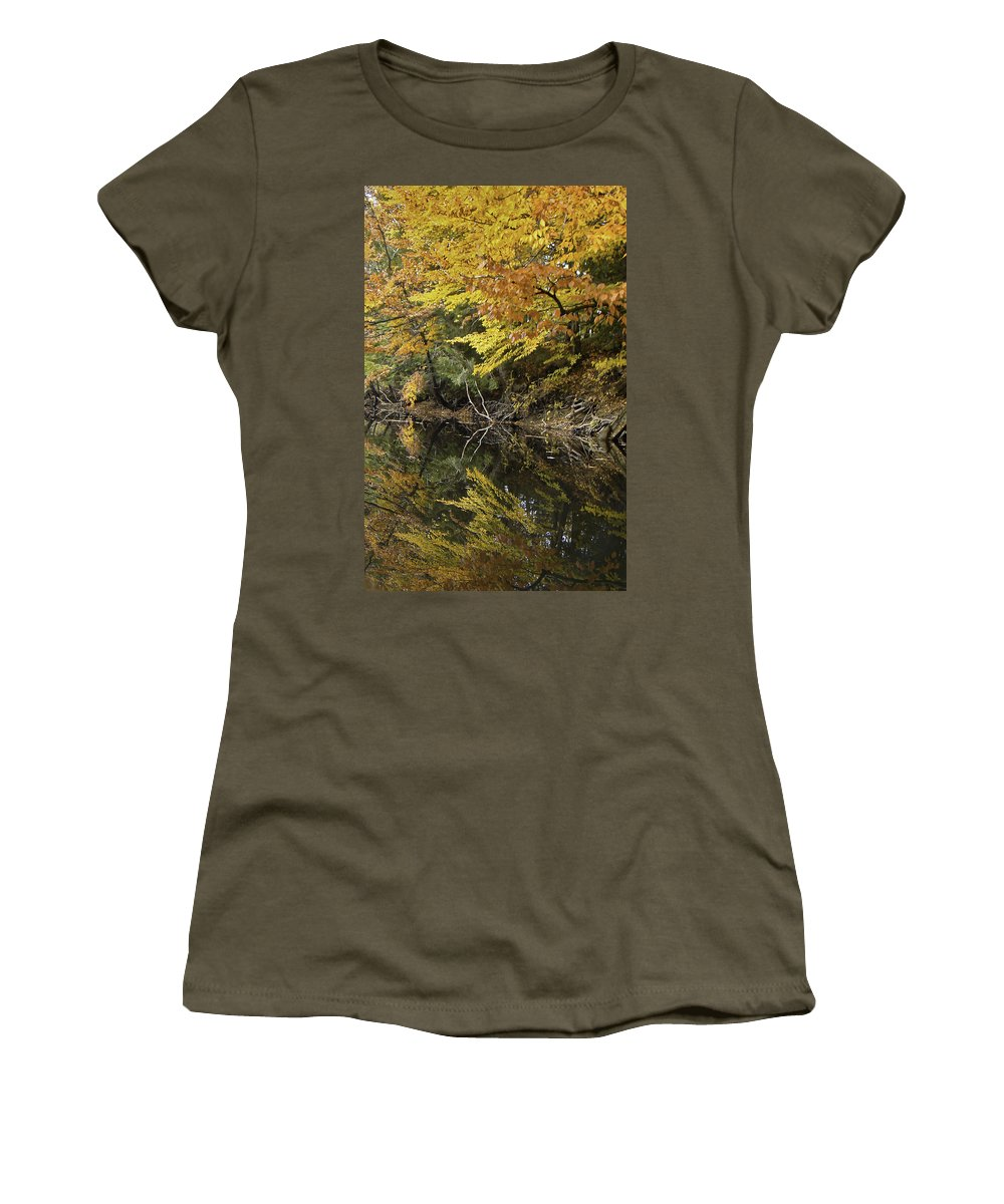 River Women's T-Shirt featuring the photograph Fall Reflections by James Ekstrom
