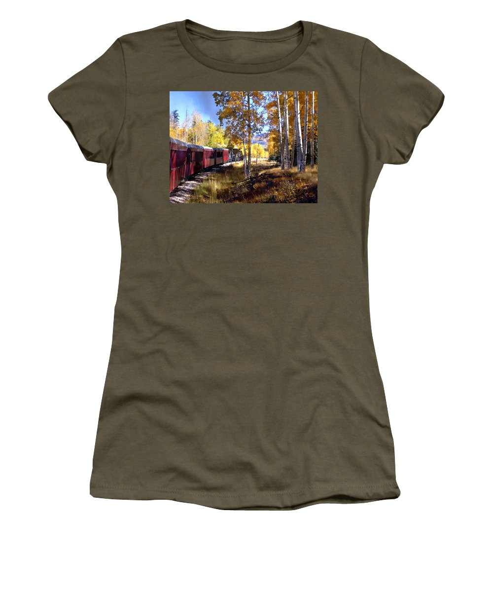 Chama Women's T-Shirt featuring the photograph Fall Train Ride New Mexico by Kurt Van Wagner