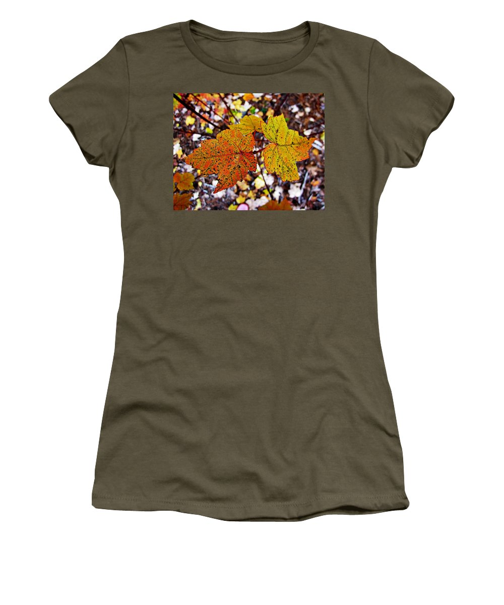 Maple Leaves Women's T-Shirt (Athletic Fit) featuring the photograph Fancy Fall Leaves by MTBobbins Photography