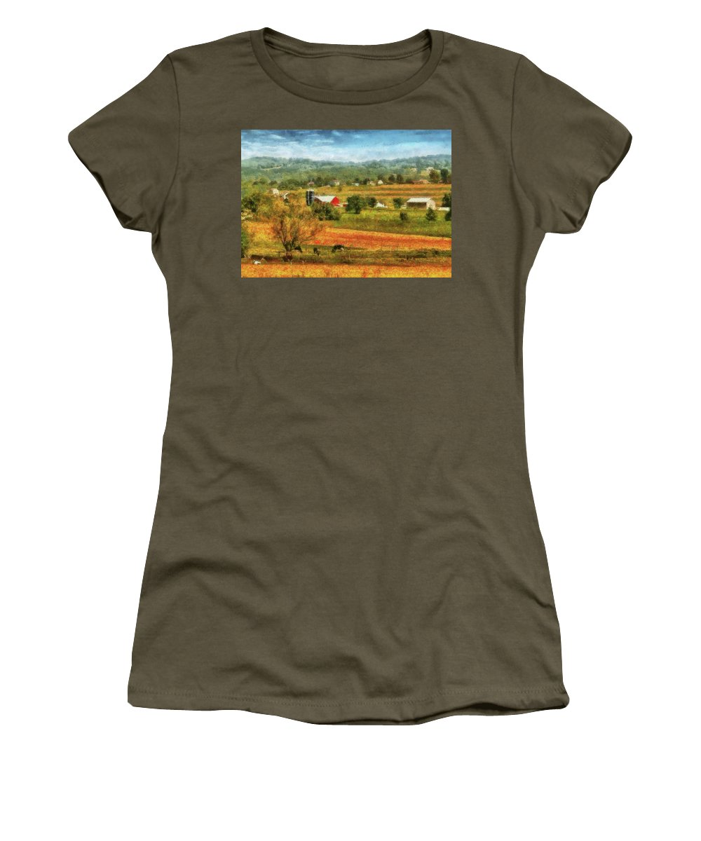 Savad Women's T-Shirt featuring the photograph Farm - Cow - Cows Grazing by Mike Savad