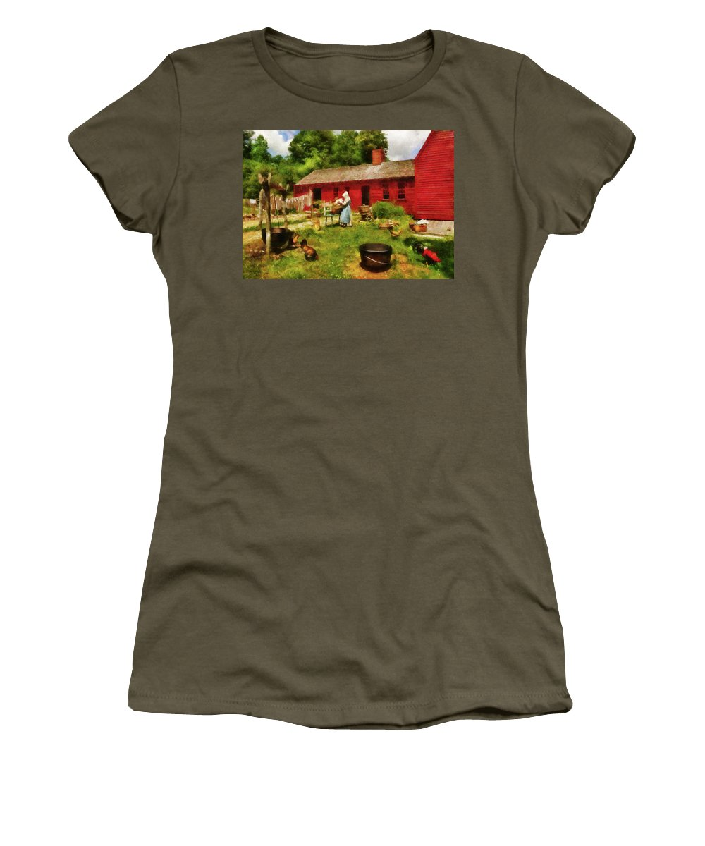 Suburbanscenes Women's T-Shirt featuring the photograph Farm - Laundry - Old School Laundry by Mike Savad