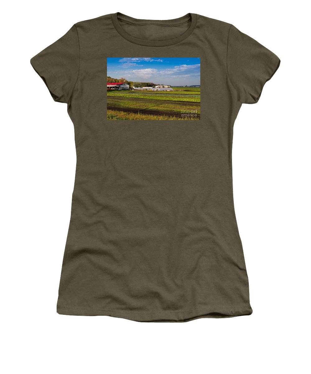 Farm Women's T-Shirt featuring the photograph Farmer's Market And Green Fields by Les Palenik