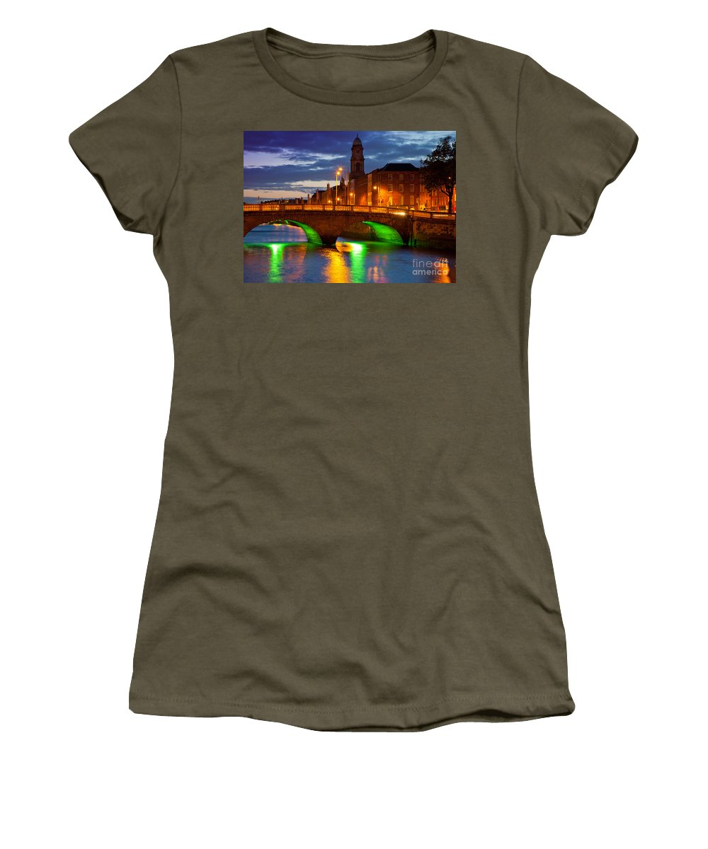 Dublin Women's T-Shirt featuring the photograph Father Matthew Bridge by Inge Johnsson