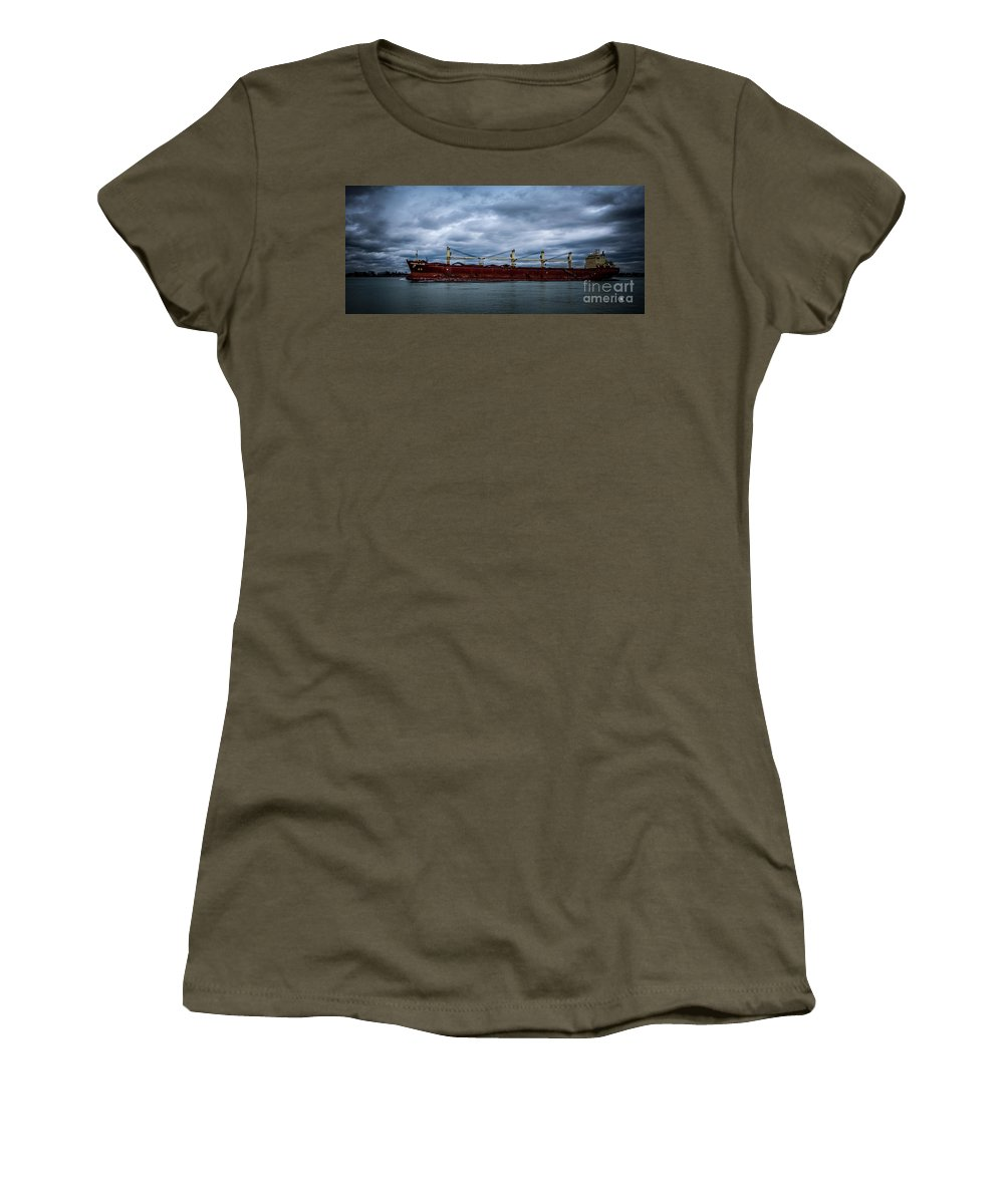 Ship Women's T-Shirt featuring the photograph Federal Elbe by Ronald Grogan