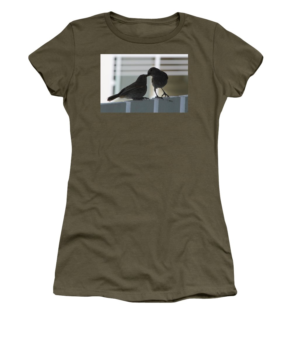 Birds Women's T-Shirt featuring the photograph Feed Me by Catie Canetti