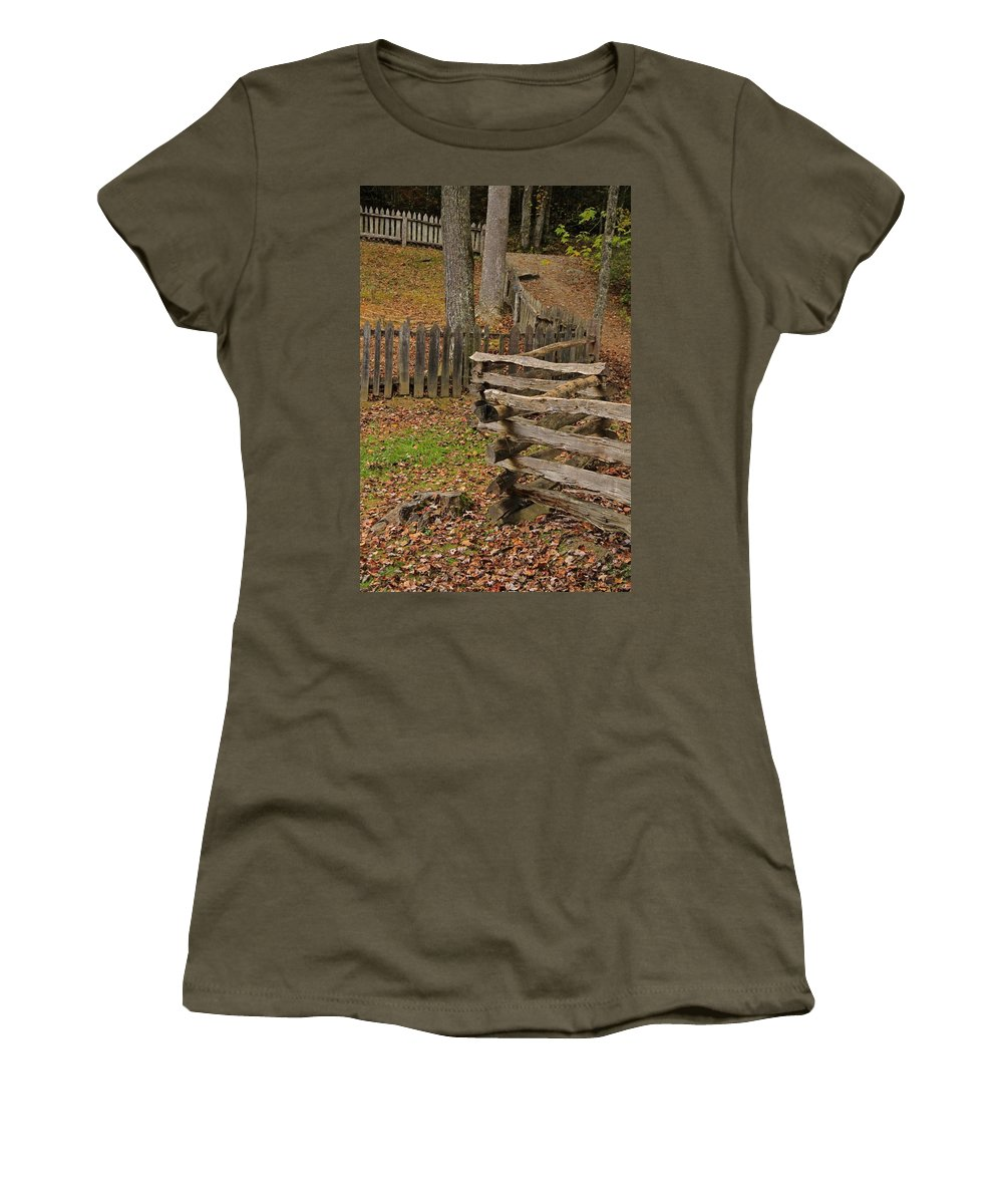 Fence In Autumn Women's T-Shirt featuring the photograph Fence In Autumn by Dan Sproul