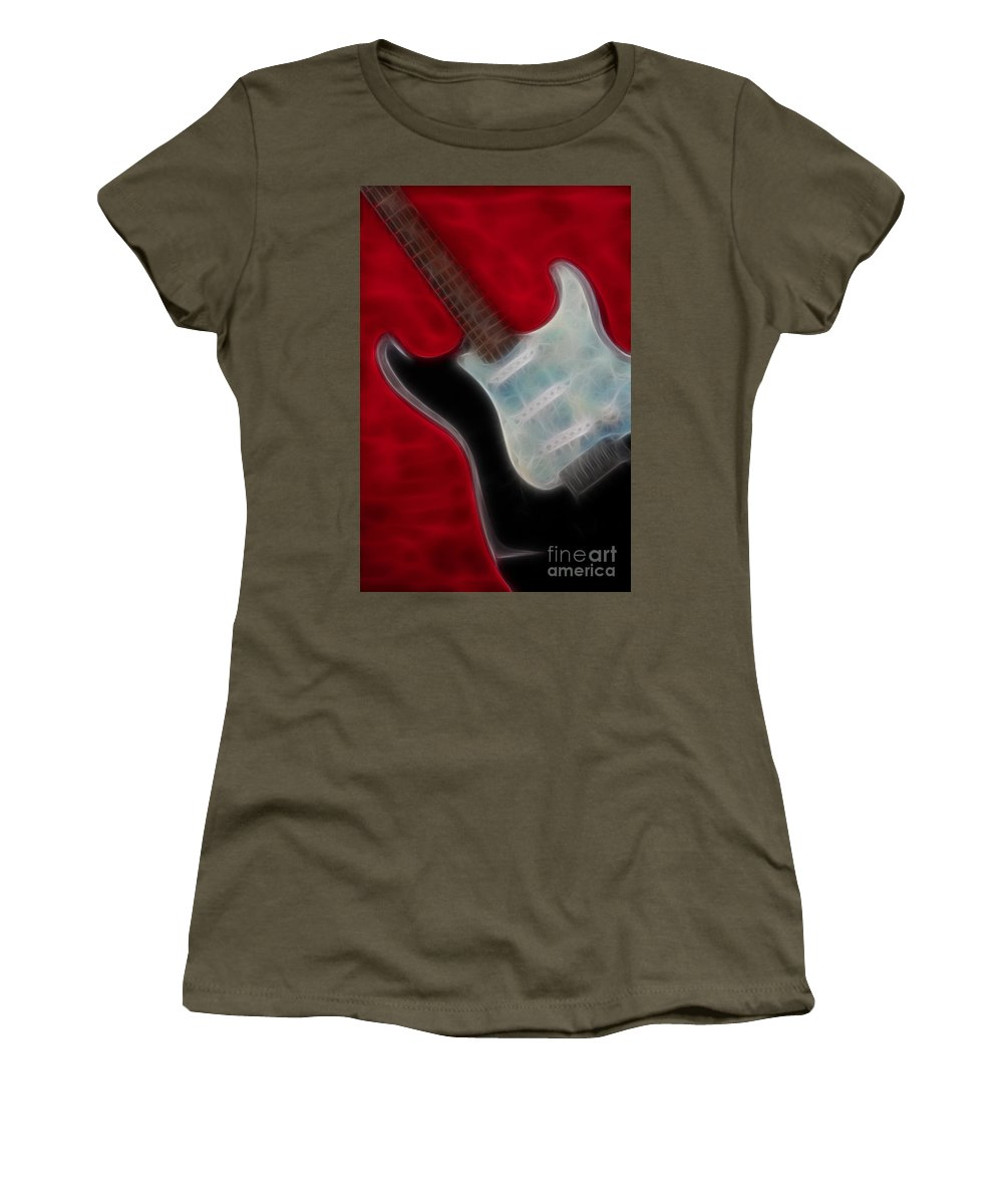 Guitar Women's T-Shirt (Athletic Fit) featuring the photograph Fender-9668-fractal by Gary Gingrich Galleries