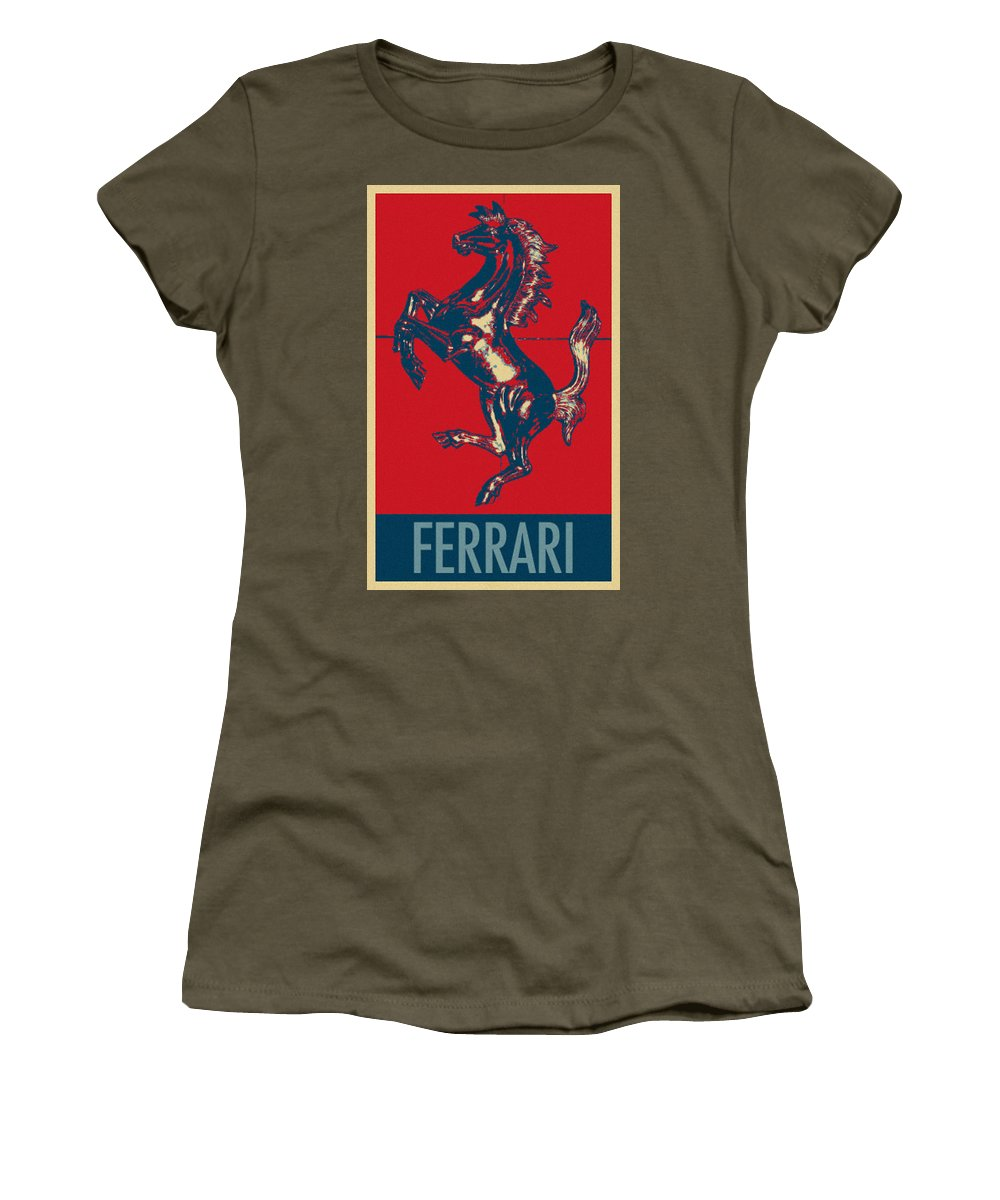 Ferrari Women's T-Shirt featuring the photograph Ferrari Stallion In Hope by Rob Hans