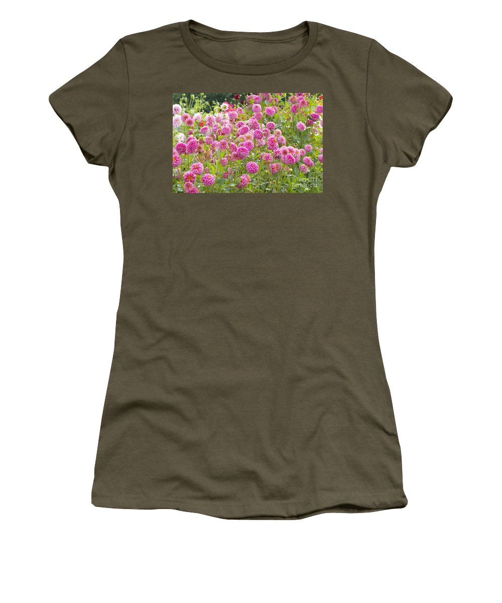 Dahlia Women's T-Shirt featuring the photograph Field Of Pink Dahlias by Sharon Talson