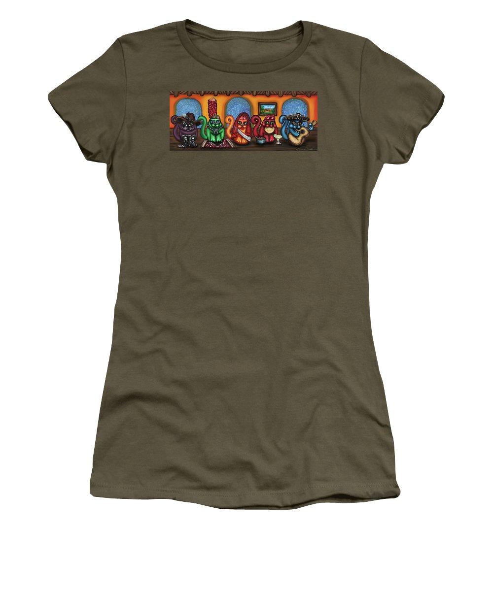 Folk Art Women's T-Shirt featuring the painting Fiesta Cats Or Gatos De Santa Fe by Victoria De Almeida