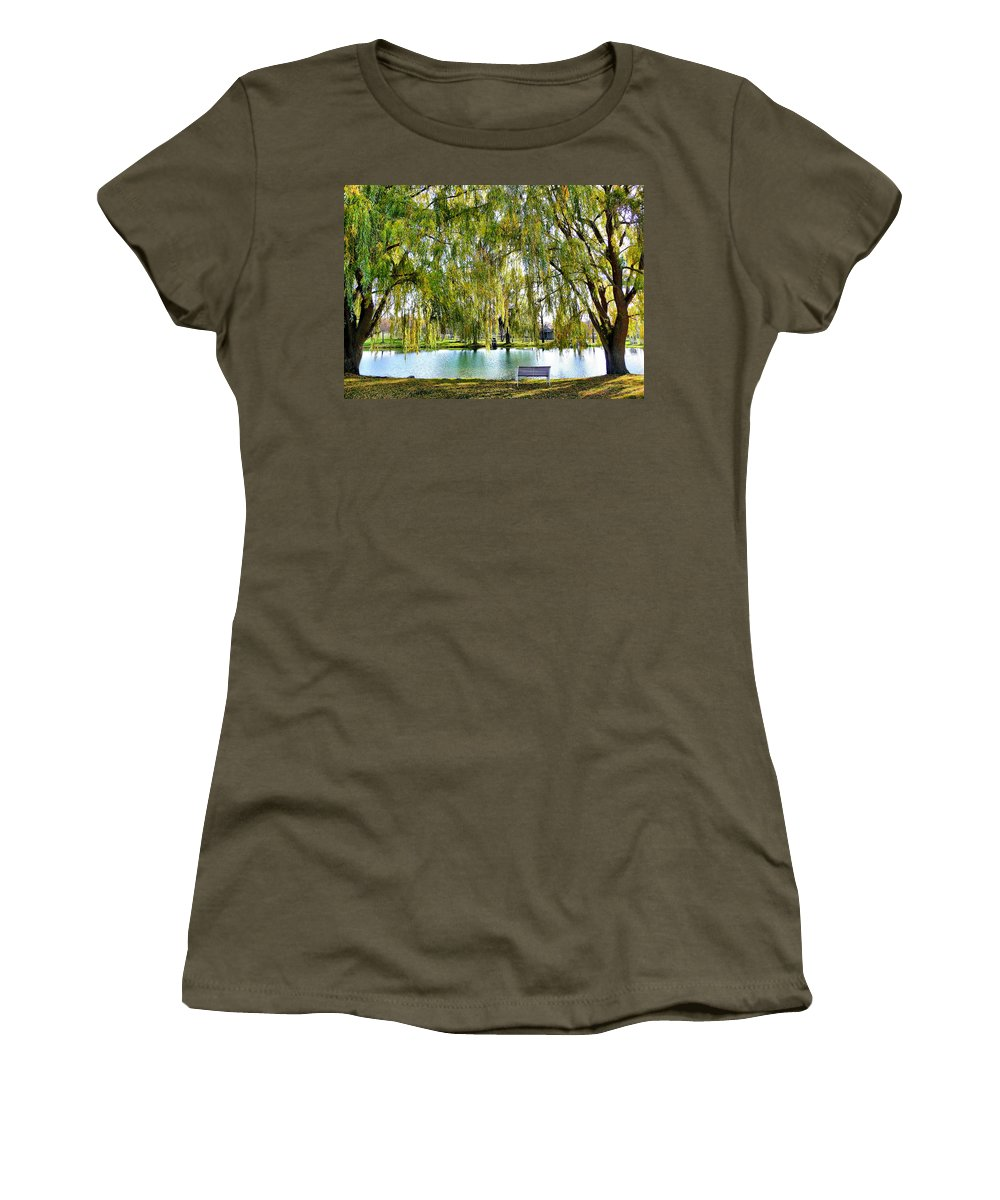 Finger Lakes Women's T-Shirt featuring the photograph Finger Lakes Weeping Willows by Mitchell R Grosky