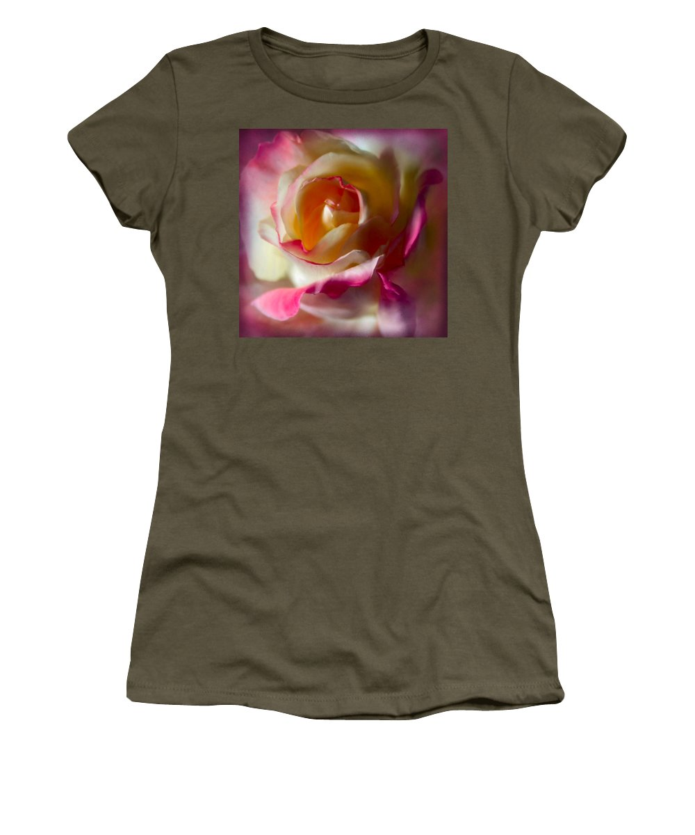 Roses Women's T-Shirt featuring the photograph Fire And Ice Rose In Square Format by Sally Bauer