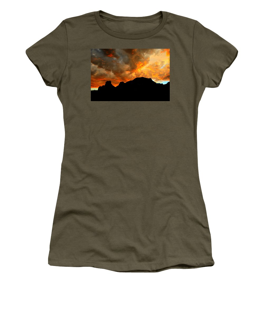 Arizona Women's T-Shirt featuring the photograph Fire Mountain by Miles Stites