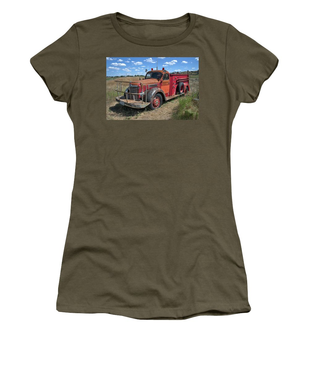 Firemen Women's T-Shirt (Athletic Fit) featuring the photograph Fire Truck International Harvester C. 1946 by Daniel Hagerman