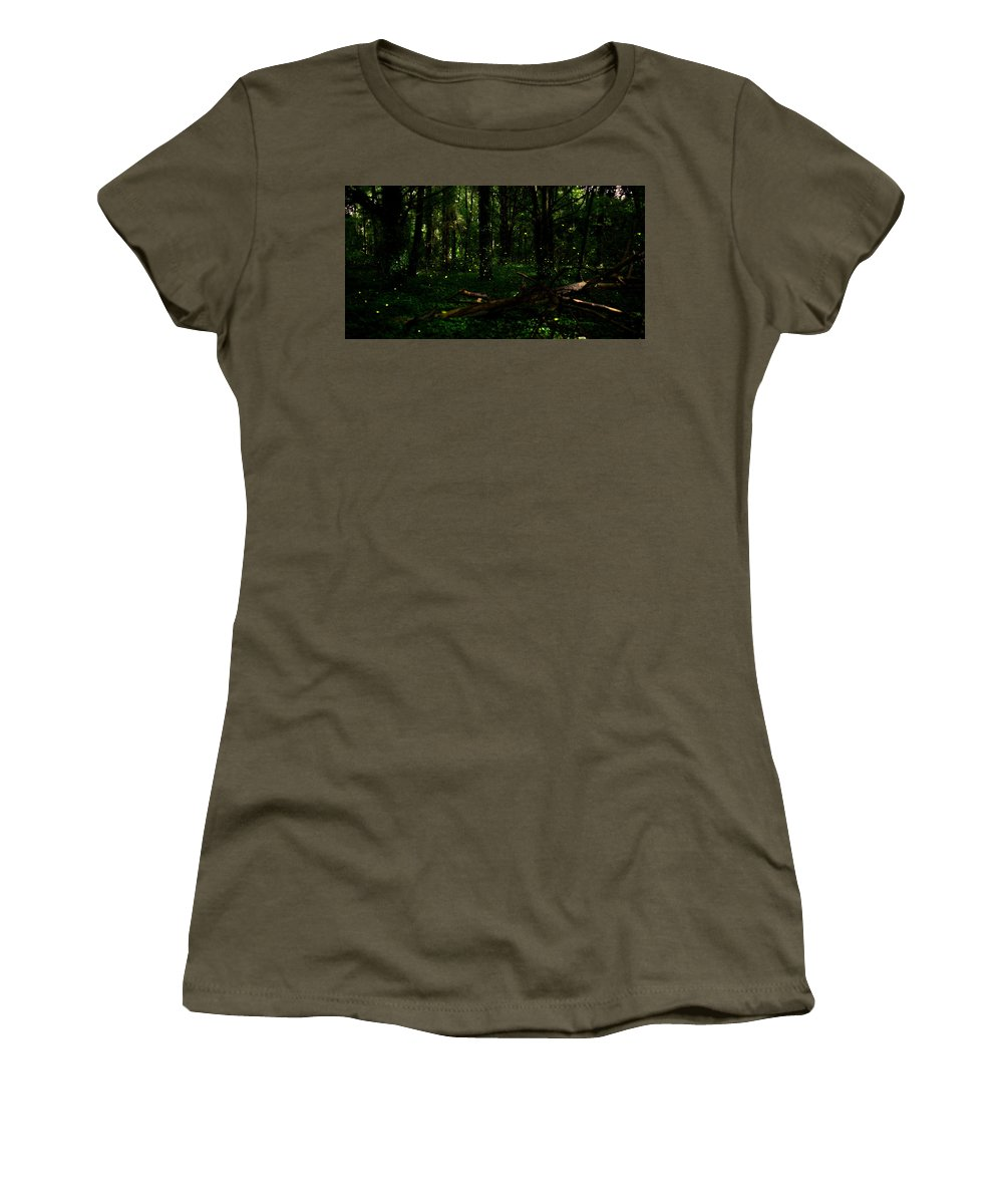Firefly Women's T-Shirt featuring the photograph Firefly Magic by Stacy Abbott