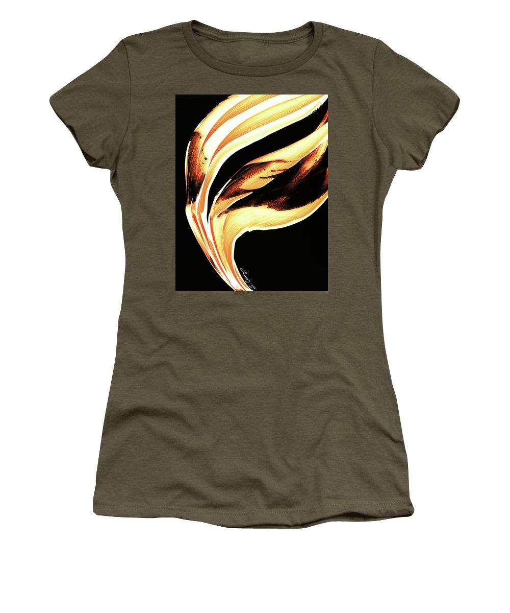Sharon Cummings Women's T-Shirt featuring the painting Firewater 2 - Buy Orange Fire Art Prints by Sharon Cummings