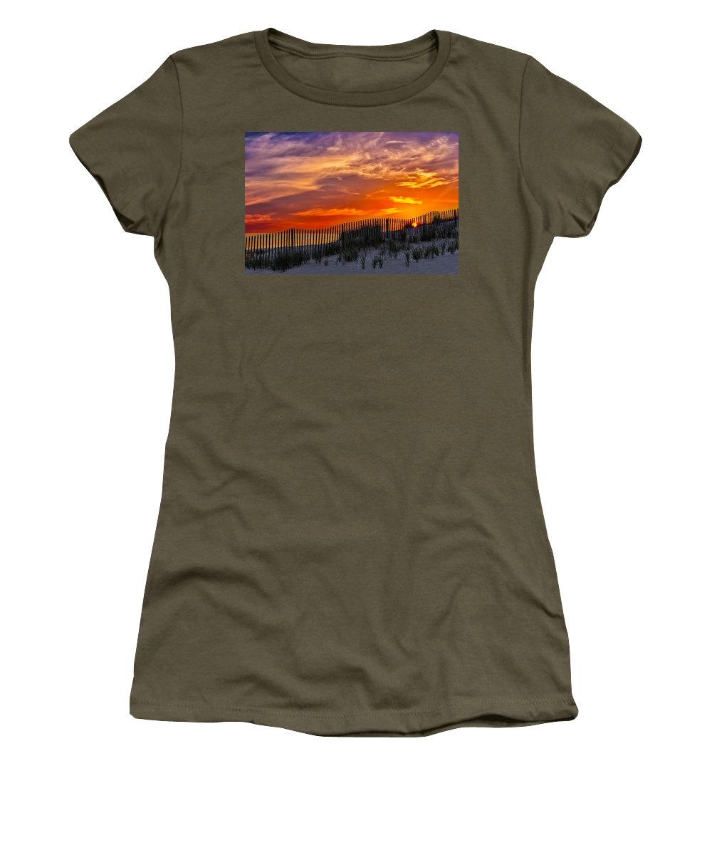 Cape Women's T-Shirt featuring the photograph First Light At Cape Cod Beach by Susan Candelario