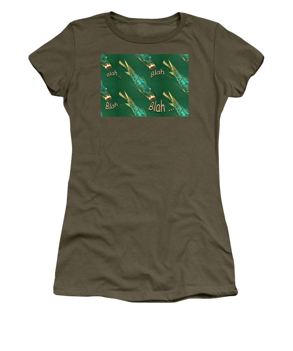 Fish Women's T-Shirt featuring the digital art Fish Say Blah Blah Blah by Carolyn Marshall