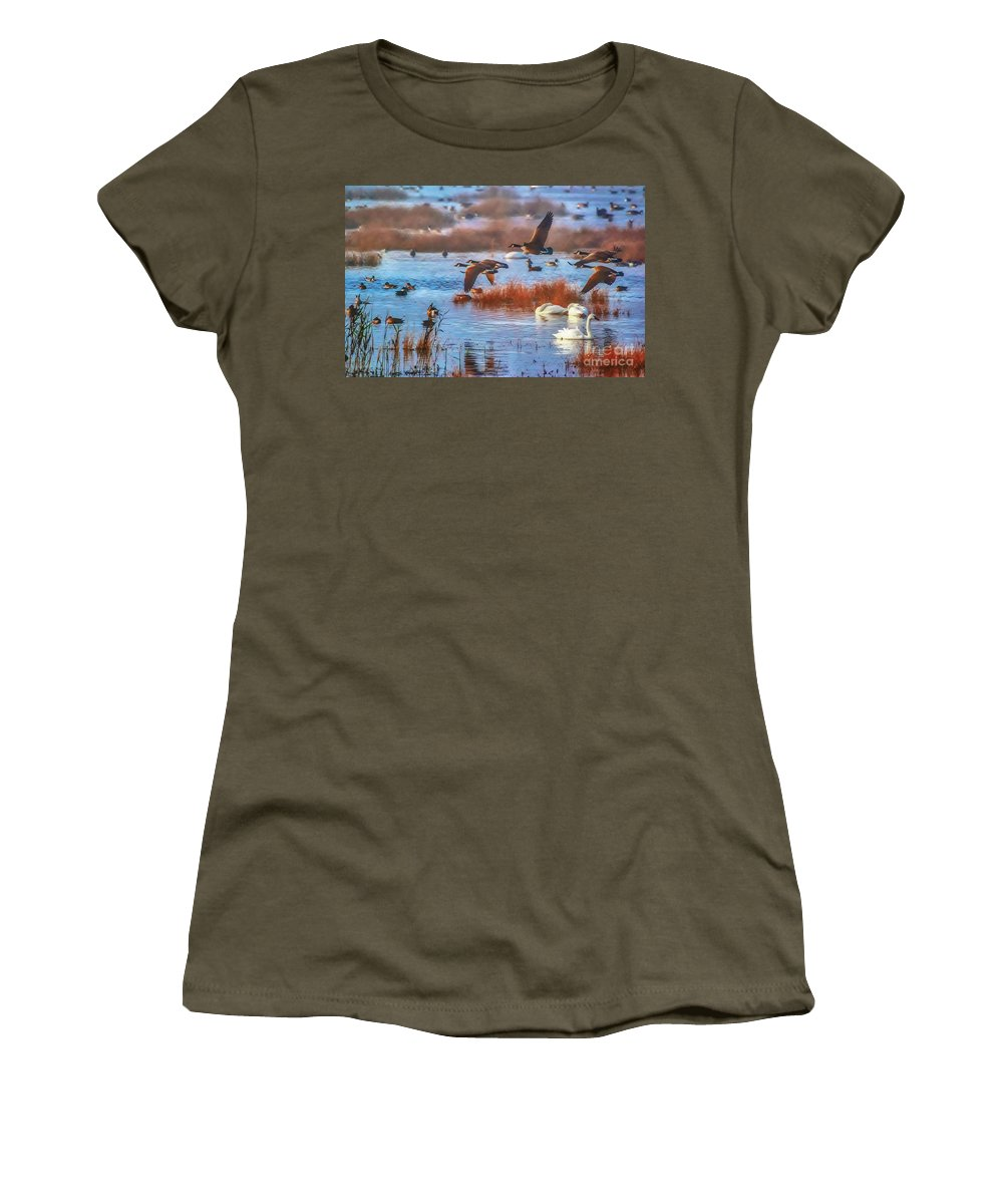 Lake Women's T-Shirt featuring the photograph Five Canadians by Scott Hervieux