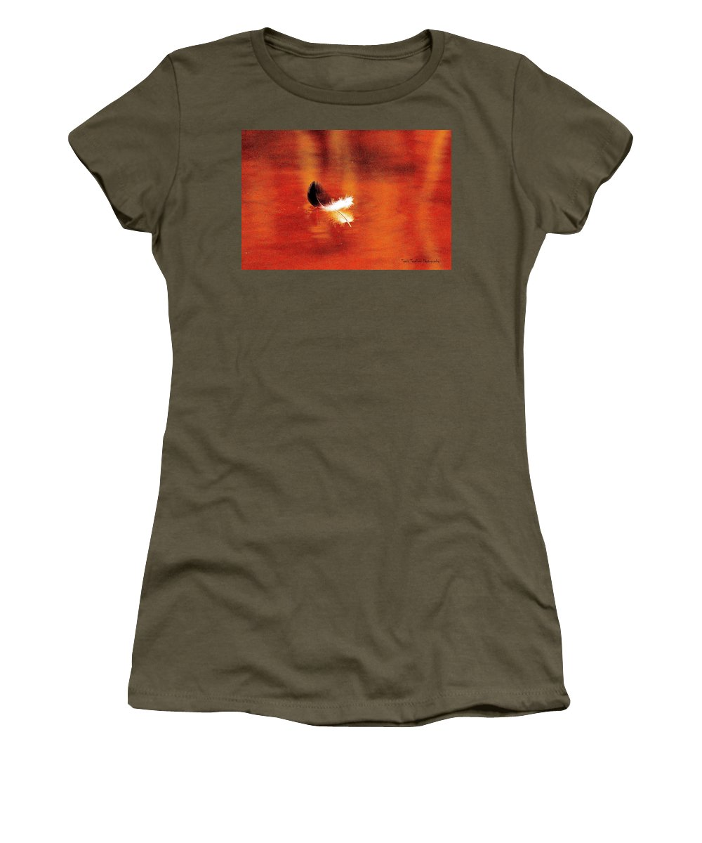 Feather Women's T-Shirt (Athletic Fit) featuring the photograph Floating Feather by Travis Truelove