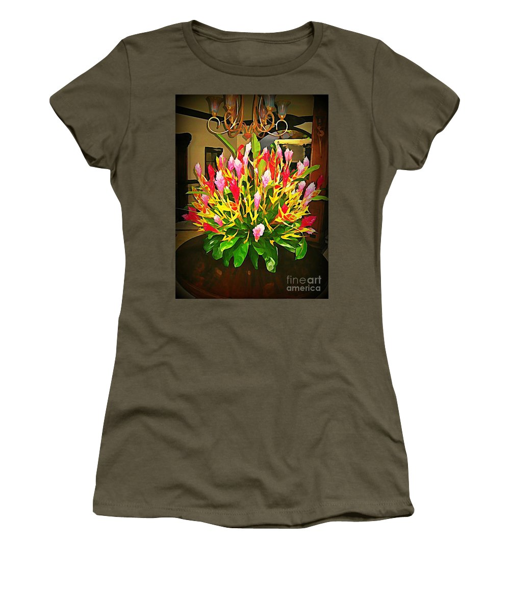 Flower Women's T-Shirt featuring the painting Floral Bouquet by John Malone