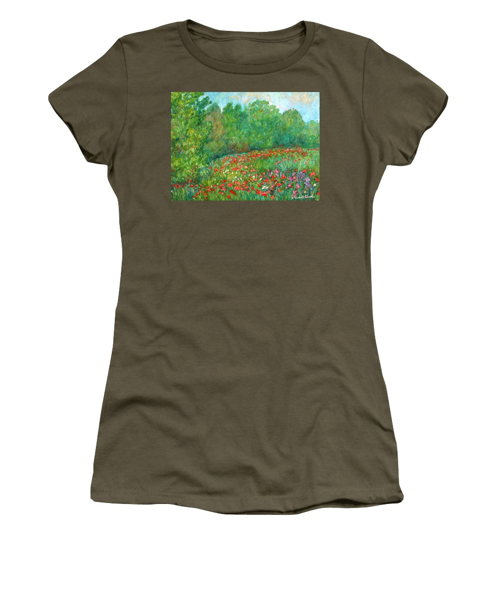 Blue Ridge Paintings Women's T-Shirt featuring the painting Flower Field by Kendall Kessler