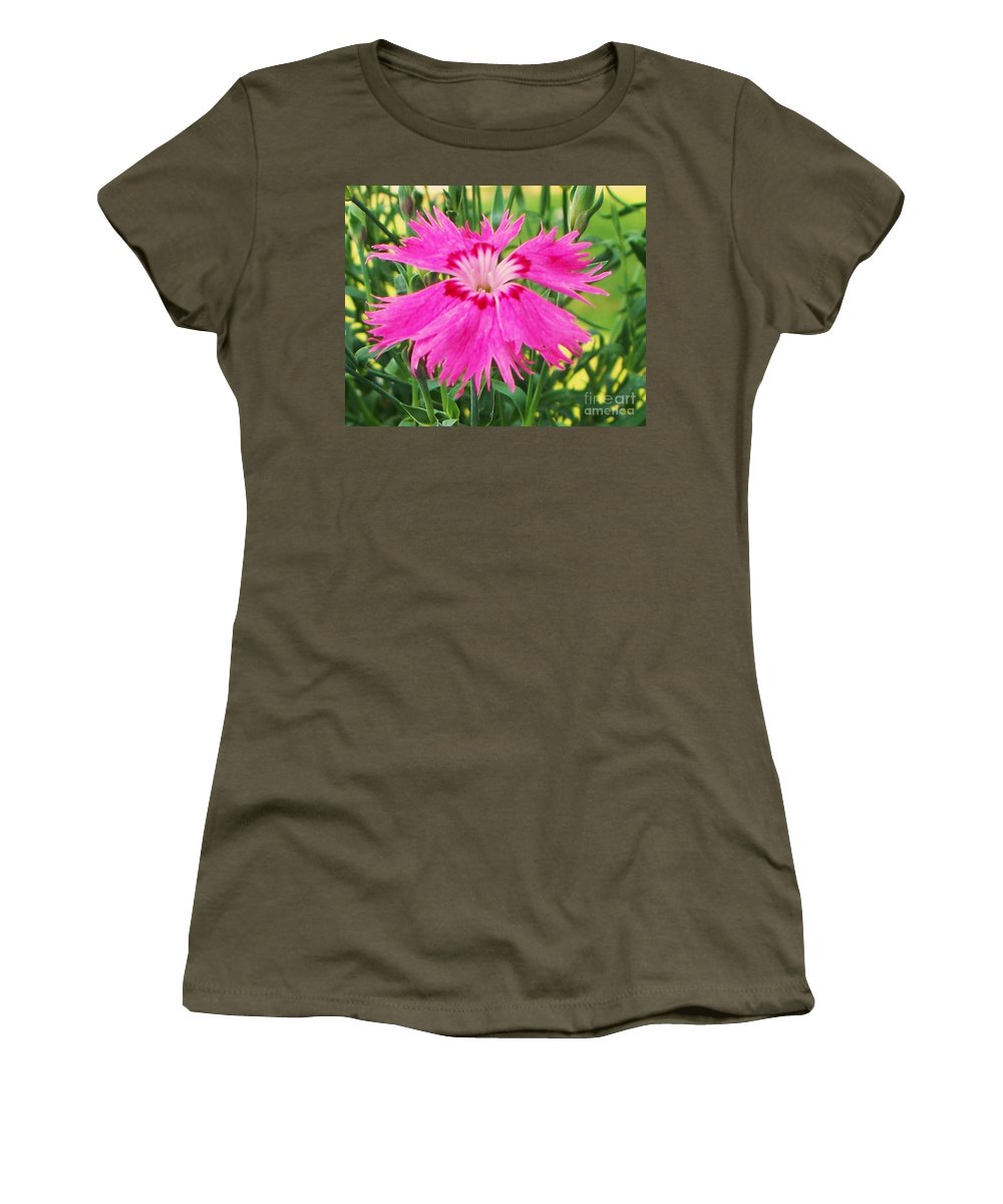 Flower Women's T-Shirt (Athletic Fit) featuring the photograph Flower Pink by Eric Schiabor