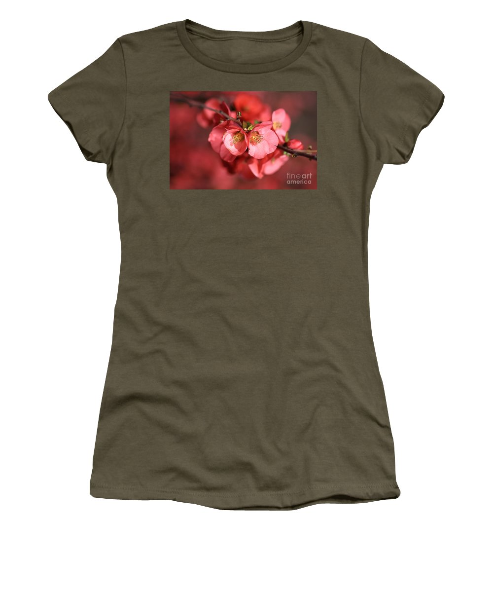 Flowering Quince Women's T-Shirt featuring the photograph Flowering Quince by Joy Watson