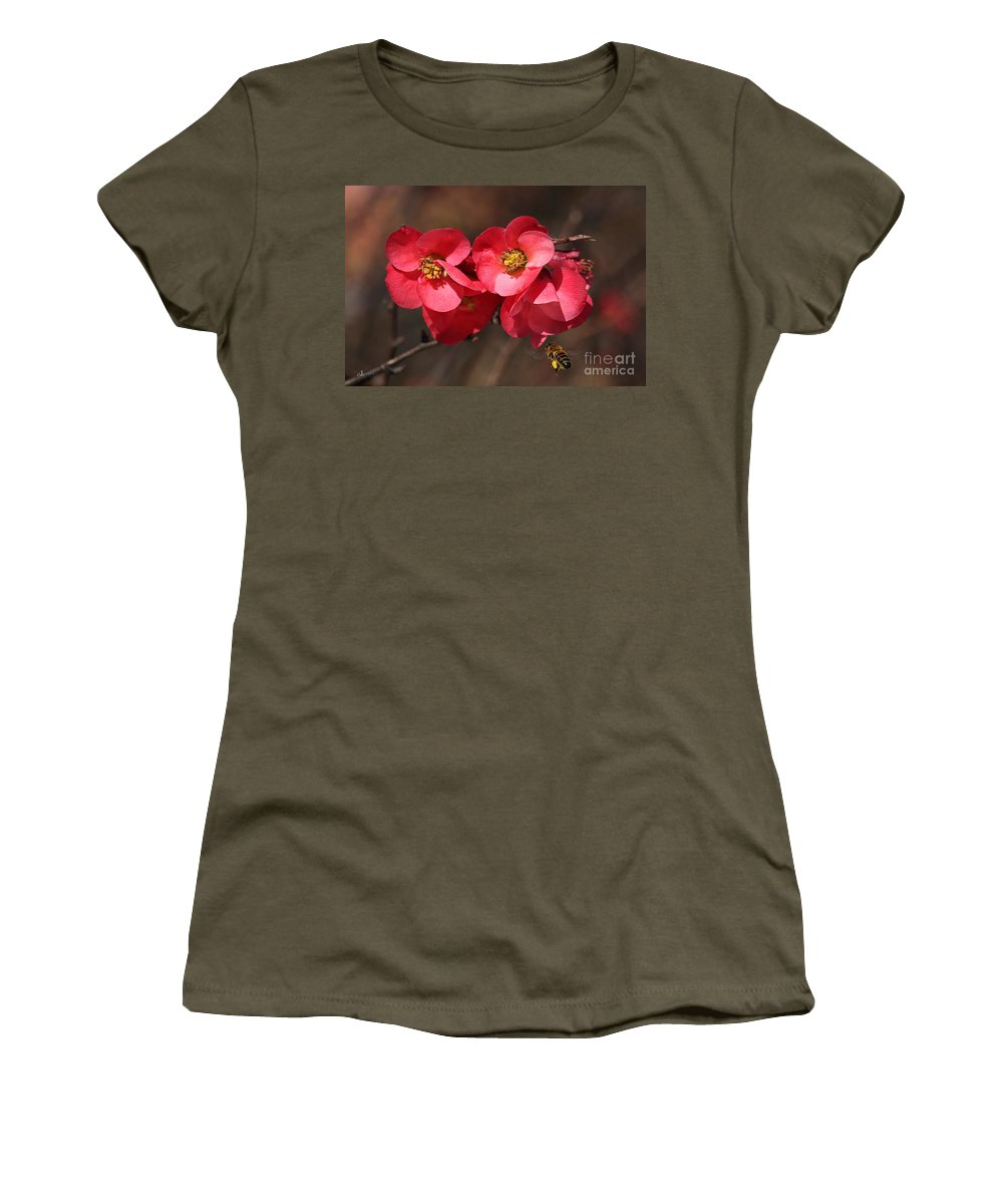 Bubbleblue Women's T-Shirt featuring the photograph Flowering Quince With Bee by Joy Watson