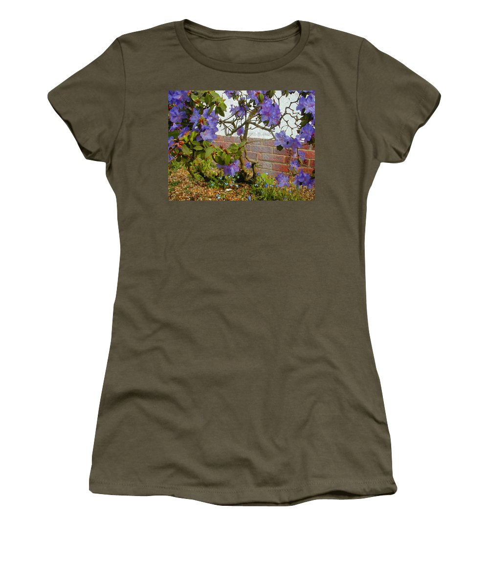 Expressive Women's T-Shirt featuring the photograph Flowers Against The Wall by Lenore Senior