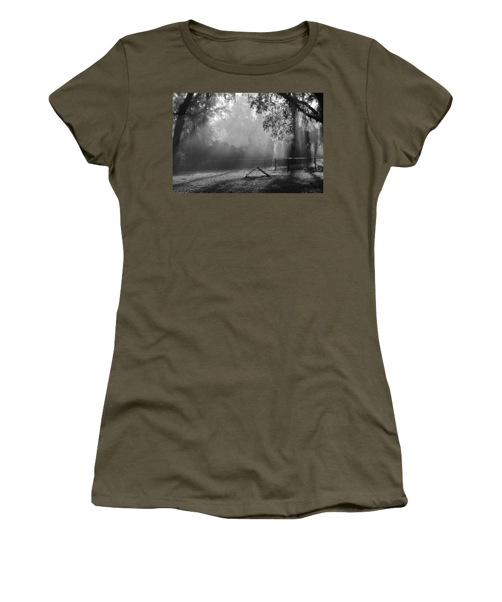 Dog Park Women's T-Shirt featuring the photograph Foggy Morn At Dog Park by Patti Colston