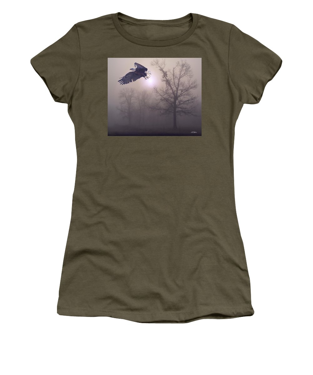 Eagles Women's T-Shirt (Athletic Fit) featuring the digital art Foggy Morning Flight by Bill Stephens