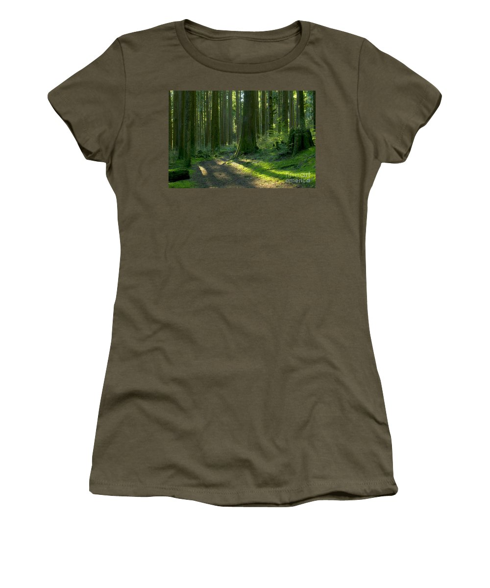 Trees Women's T-Shirt featuring the photograph Follow The Red Marker by Sharon Talson