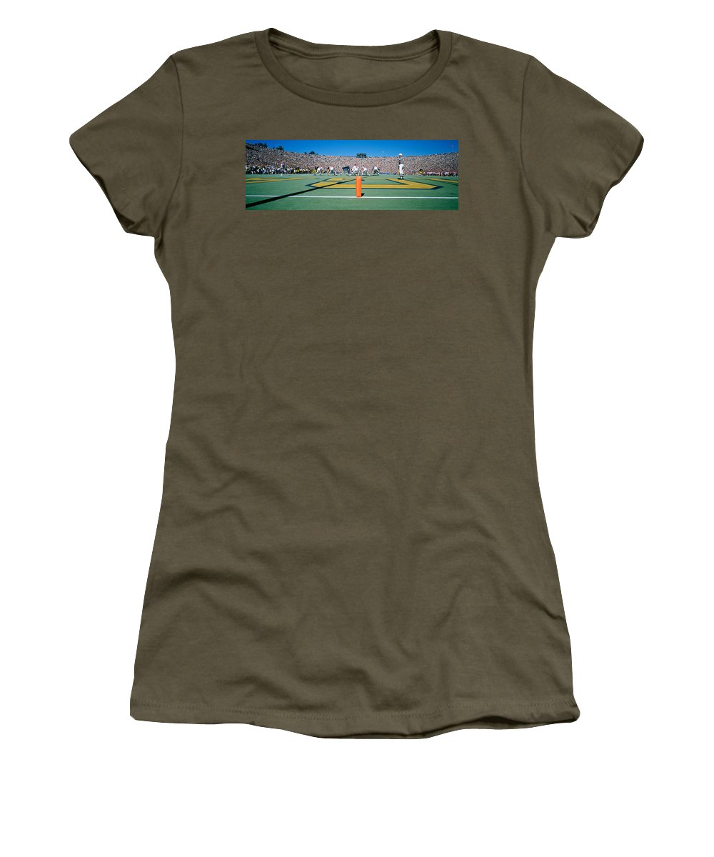 Photography Women's T-Shirt featuring the photograph Football Game, University Of Michigan by Panoramic Images