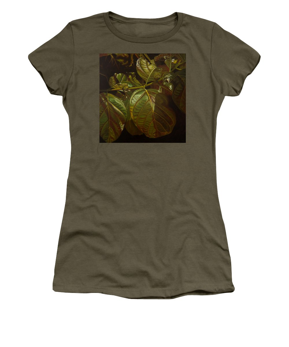 Tropical Plants Women's T-Shirt featuring the painting Forbidden Fruits by Thu Nguyen