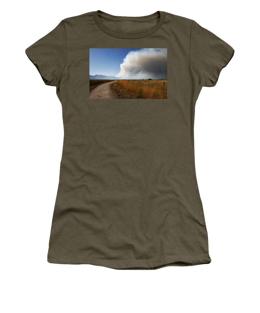 Four Women's T-Shirt featuring the photograph Four Mile Canyon Fire Colorado by Marilyn Hunt