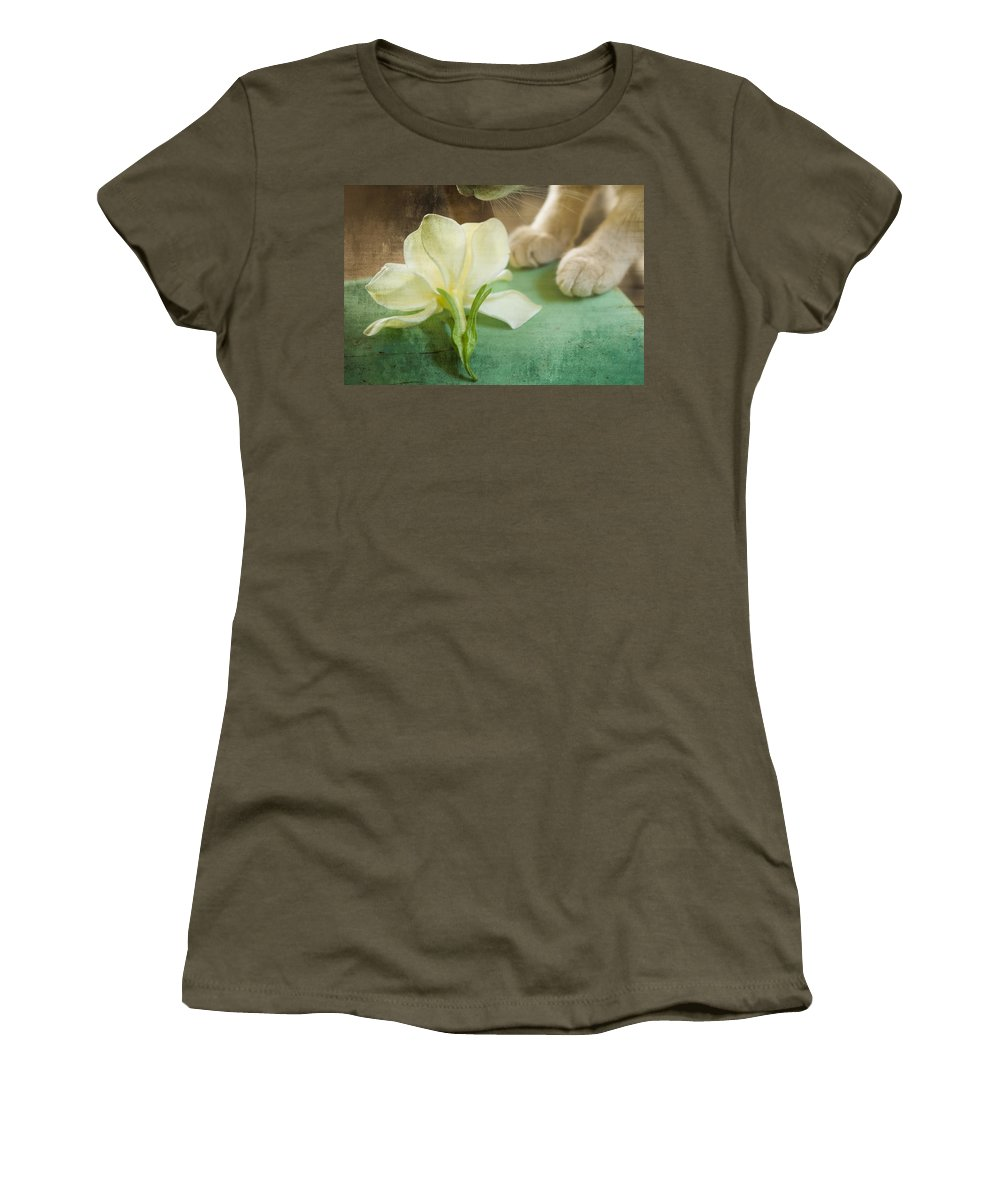 Vintage Art Women's T-Shirt featuring the photograph Fragrant Gardenia by Kim Henderson