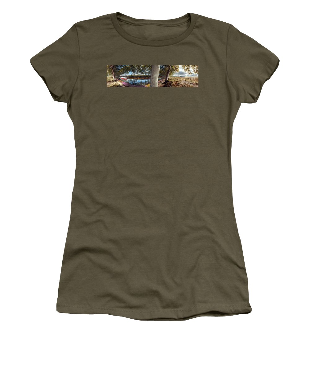 France Women's T-Shirt featuring the photograph France Languedoc Roussillon Near Carcassonne Canal Du Midi by David Zanzinger