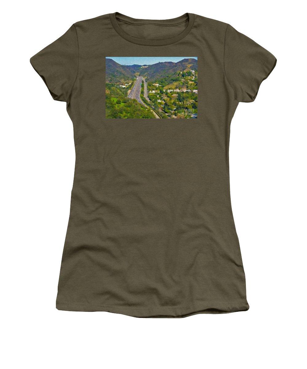 L-405 Sepulveda Pass Traffic Bel Air Crest California Women's T-Shirt (Athletic Fit) featuring the photograph Freeway Sepulveda Pass Traffic Bel Air Crest California by David Zanzinger