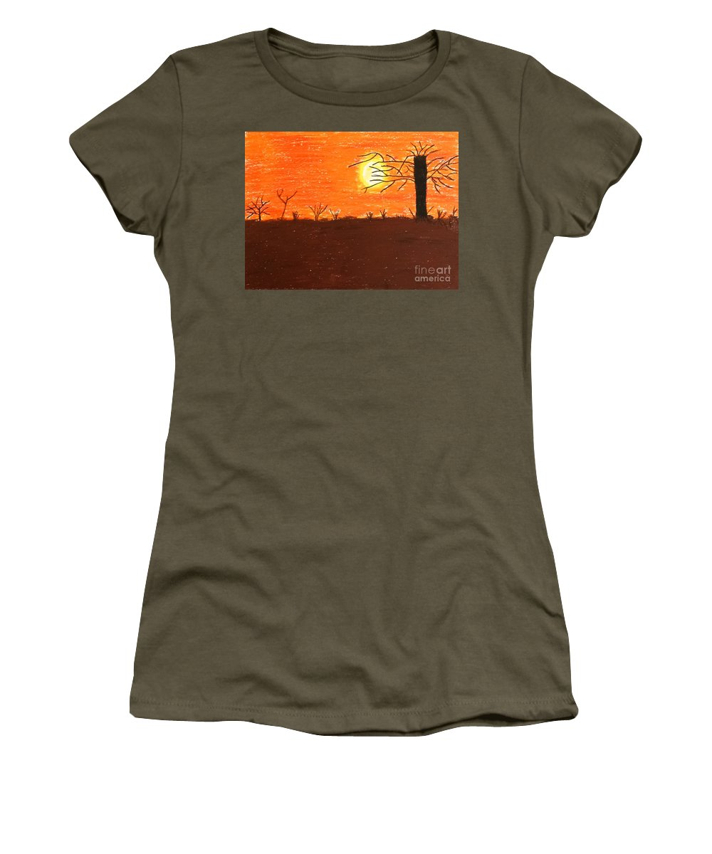 Pastels Women's T-Shirt featuring the pastel Friendly Sunset by Lisa Byrne