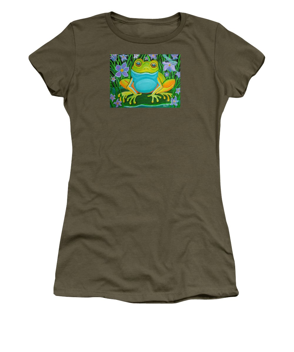 Ffrog Art Women's T-Shirt (Athletic Fit) featuring the painting Frog On A Lily Pad by Nick Gustafson