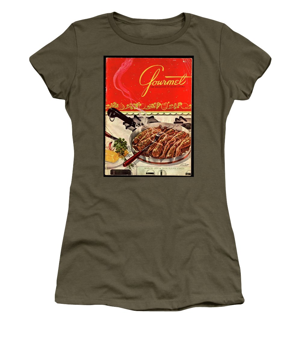 Illustration Women's T-Shirt featuring the photograph Frogs Legs Frying In A Pan by Henry Stahlhut