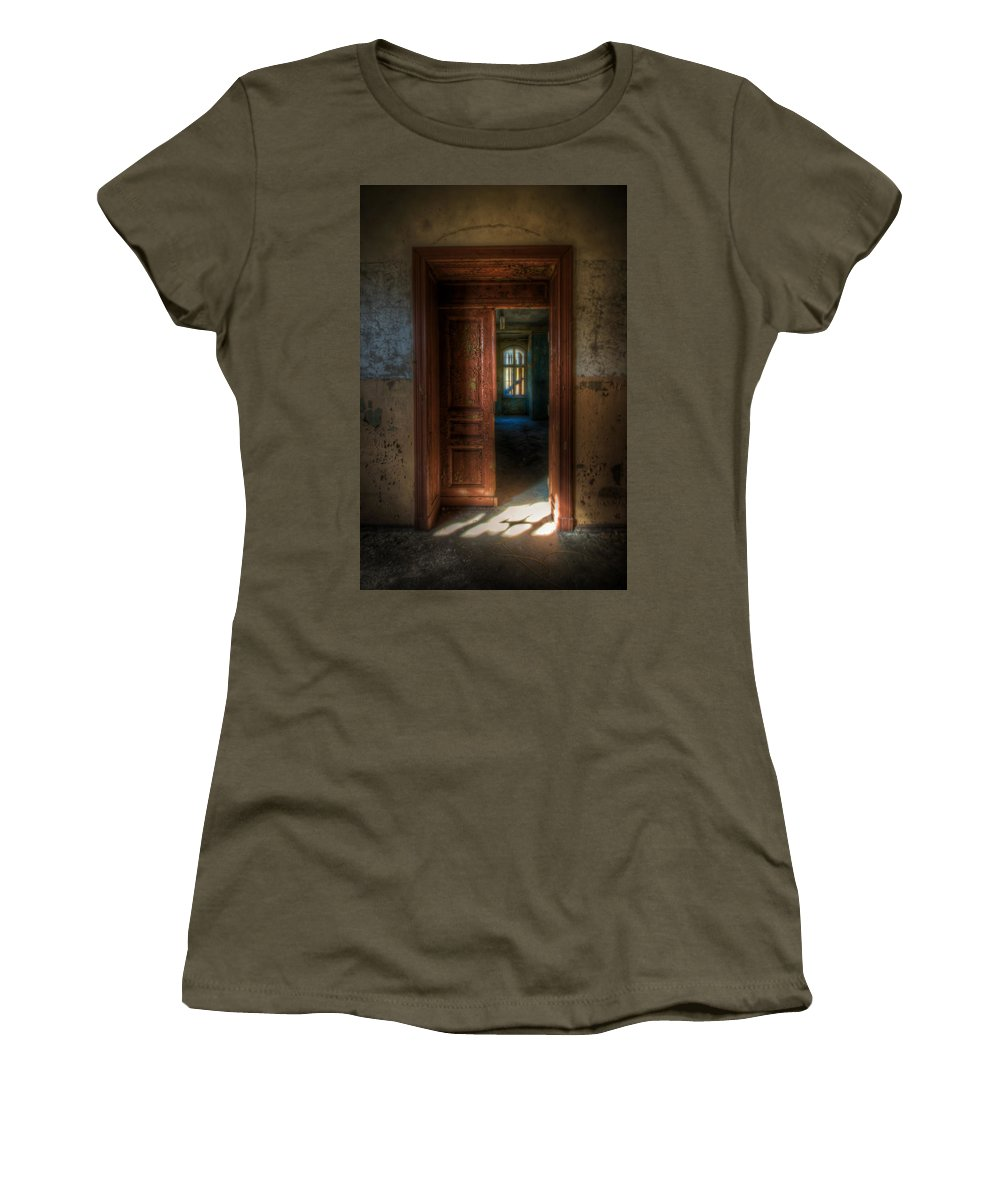 Horror Women's T-Shirt featuring the digital art From A Door To A Window by Nathan Wright