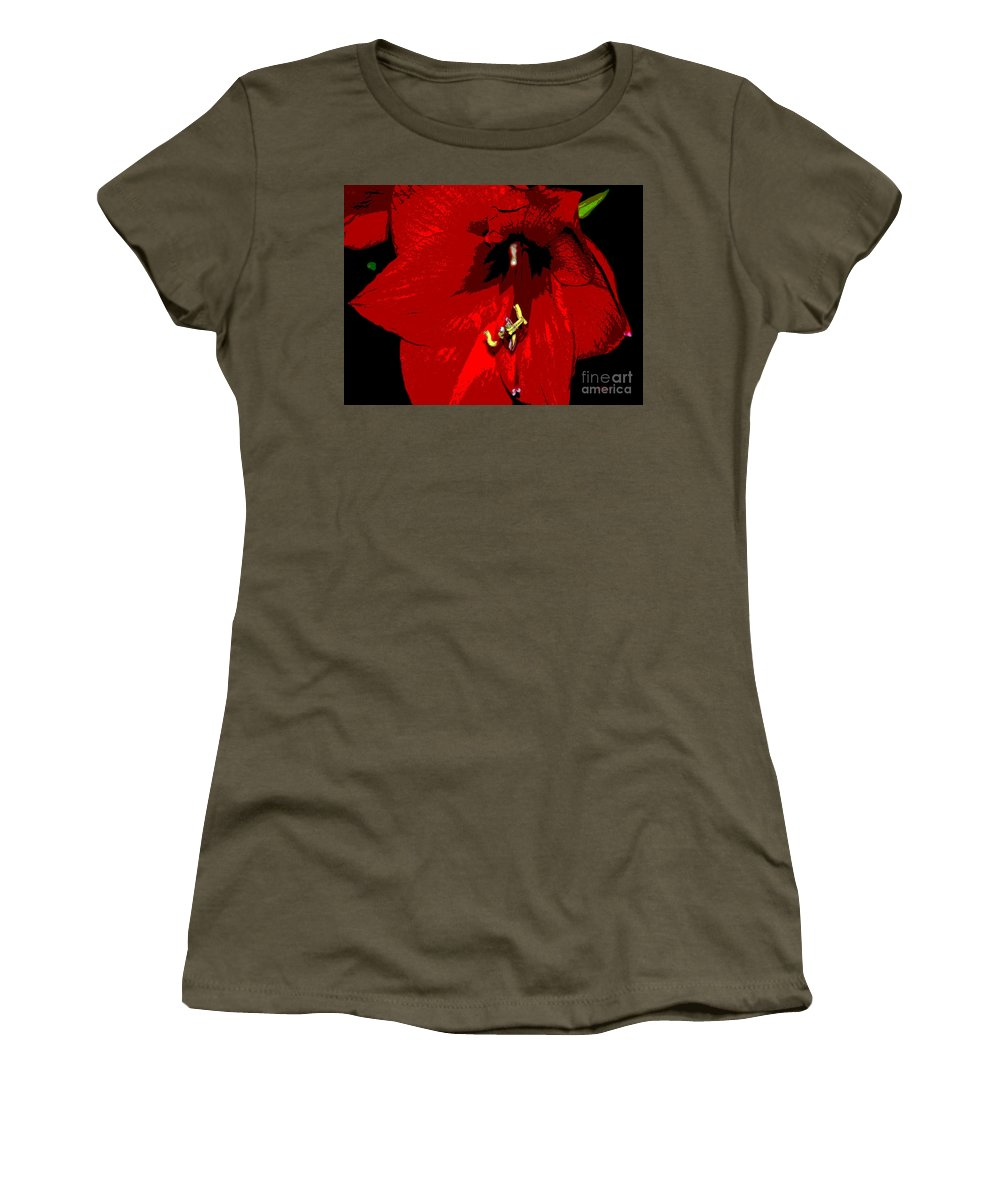 Red Women's T-Shirt featuring the photograph Front And Center by Cindy Manero