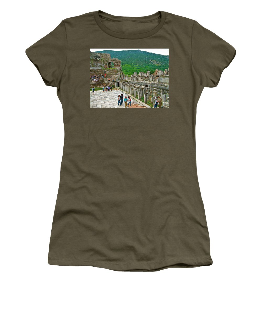 Front Of Theater In Ephesus Women's T-Shirt featuring the photograph Front Of Theater In Ephesus-turkey by Ruth Hager