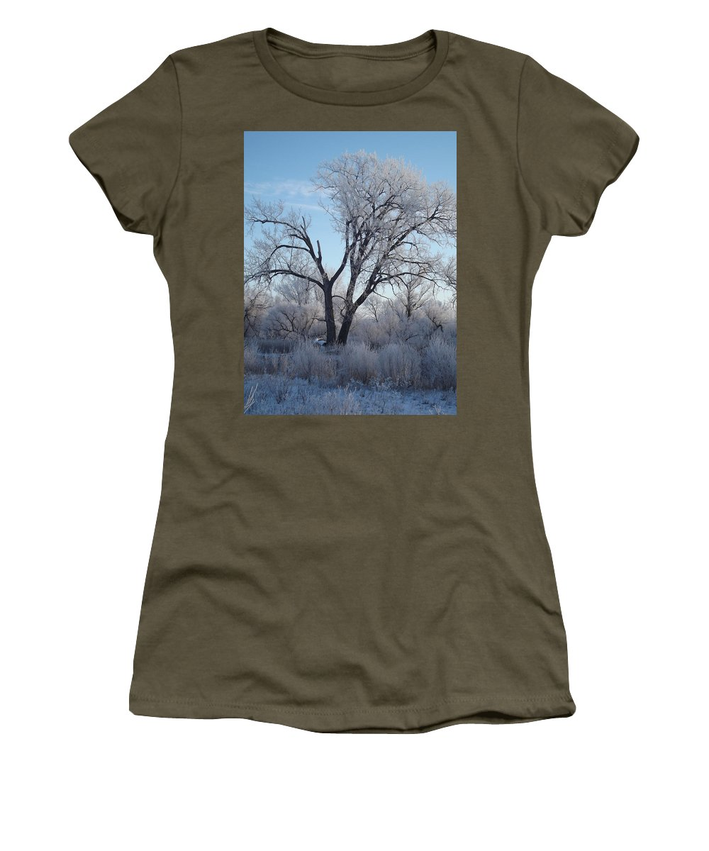 Frost Women's T-Shirt featuring the photograph Frosty Trees 3 by Bonfire Photography