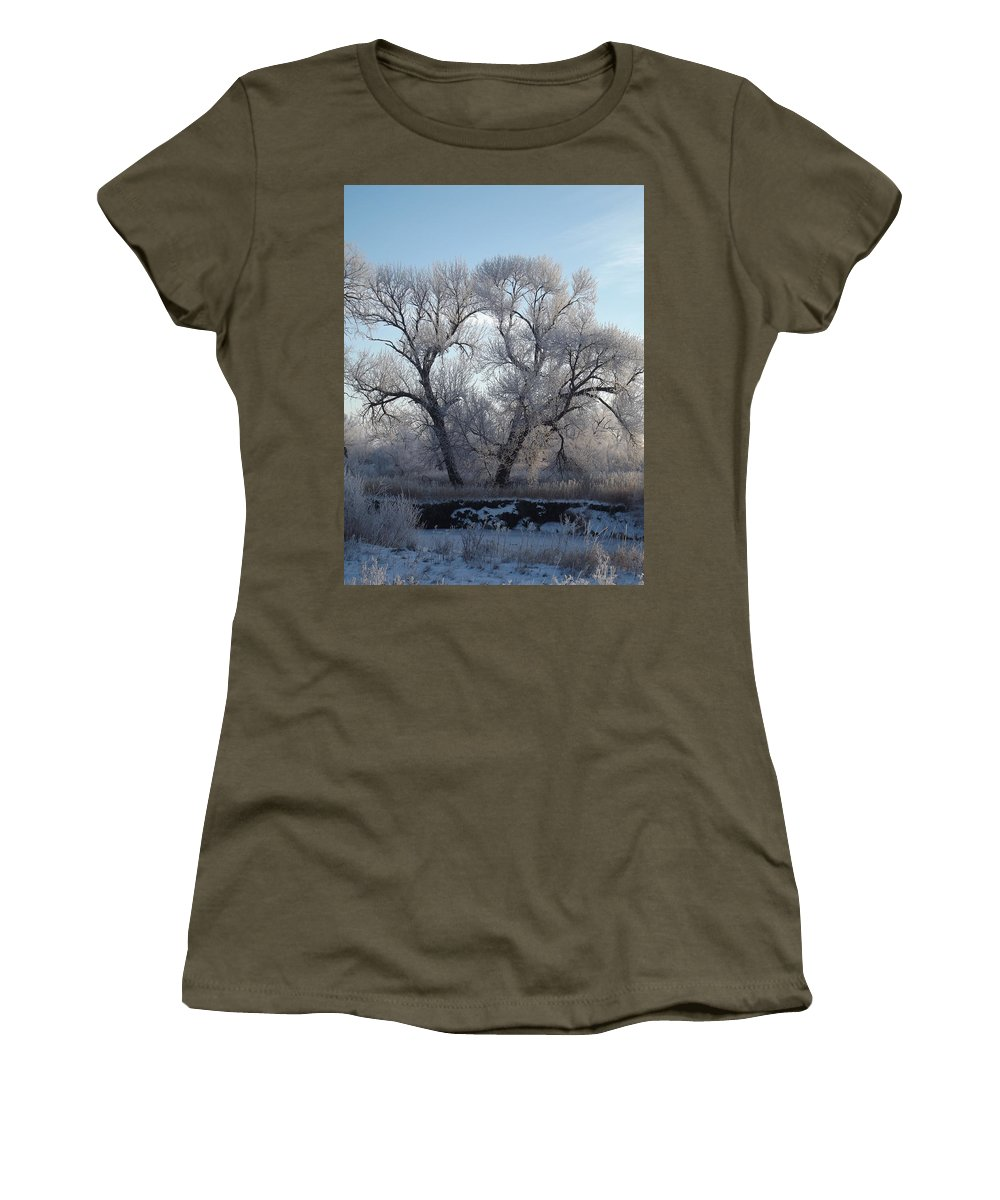 Frost Women's T-Shirt featuring the photograph Frosty Trees 4 by Bonfire Photography
