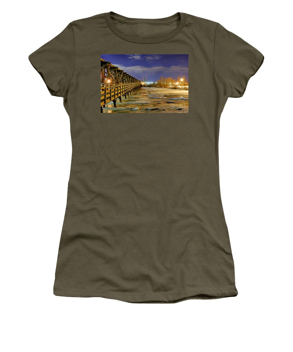 Water Women's T-Shirt featuring the photograph Frozen Pier by Bryan Benson