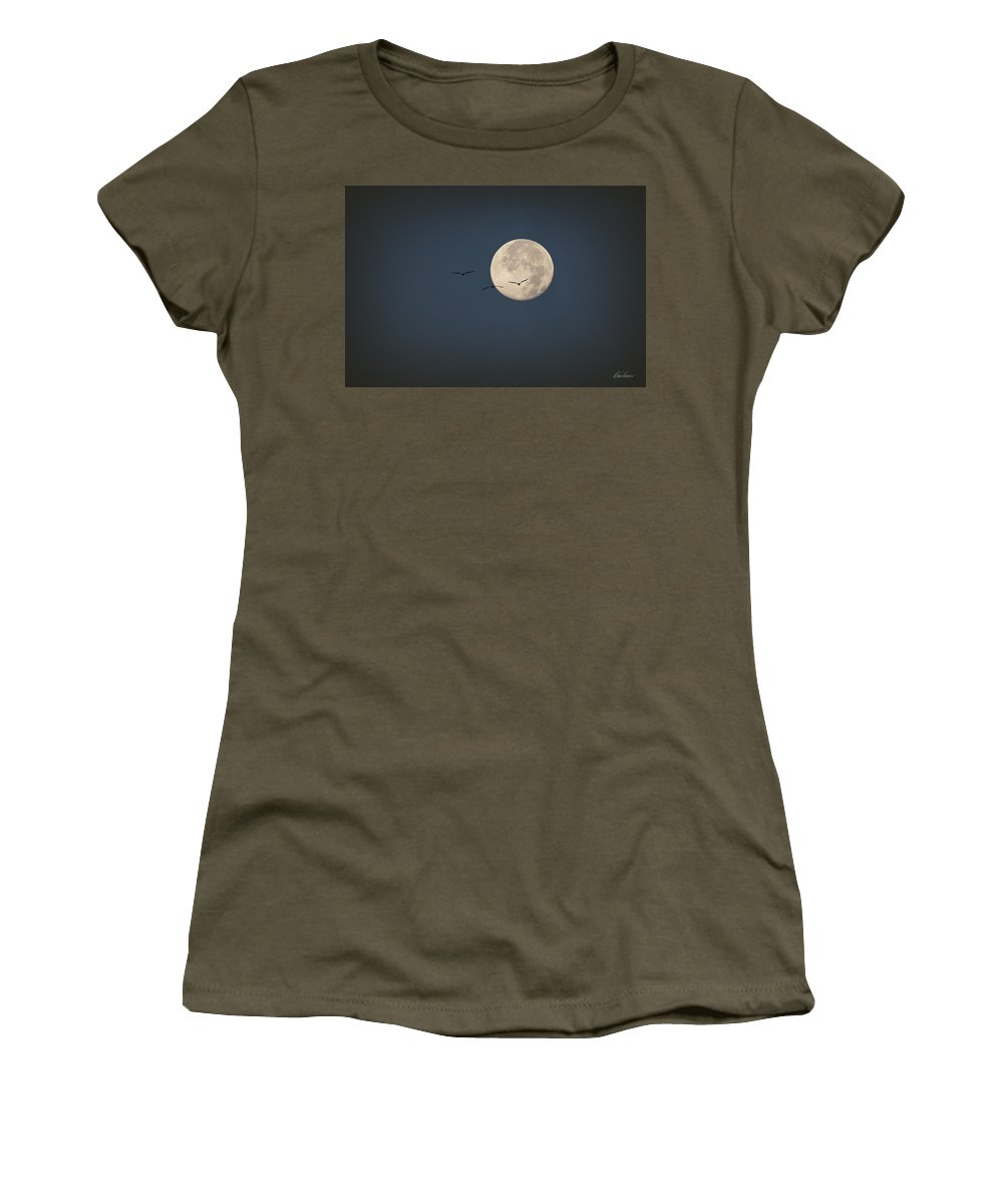 Moon Women's T-Shirt featuring the photograph Full Moon At Dawn by Diana Haronis